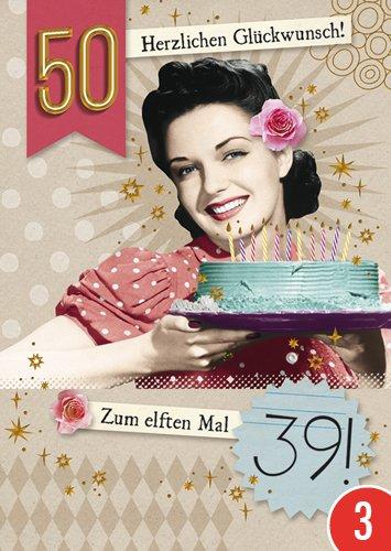 3er-Pack: Postkarte A6 +++ LUSTIG von modern times +++ ZUM ELFTEN MAL 39 GOLD +++ BK.EDITION © Pigment Productions Ltd