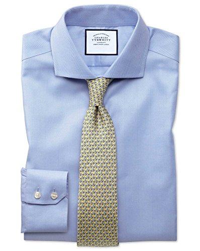 Extra Slim Fit Cutaway Non-Iron Herringbone Sky Blue Cotton Formal Shirt Double Cuff by Charles Tyrwhitt