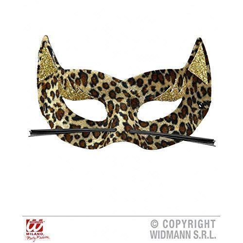 Lively Moments Augenmaske Leopard mit goldfarbenem Glitter & Schnurrhaare / Fasching (Maske Kostüm Leopard)