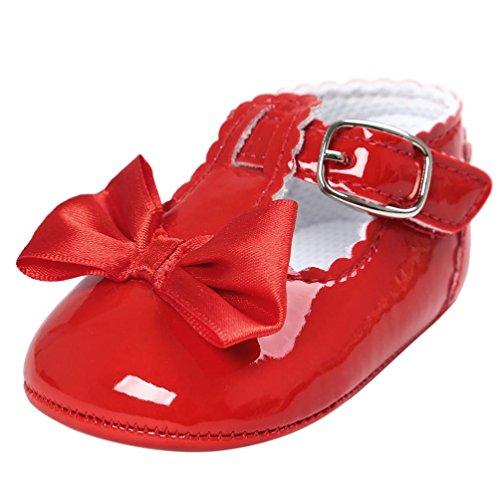 FNKDOR Baby Mädchen Bowknot Prinzessin Weiche Sohle Schuhe Kleinkind Turnschuhe Freizeitschuhe(12-18 Monate,Rot)