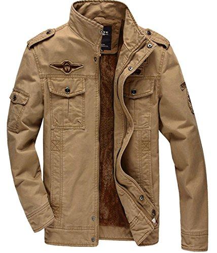 KEFITEVD Hommes Printemps Militaire Blousons Bomber Veste Travail Veste Classique Zip Manches Longues Coton Jacket Kaki