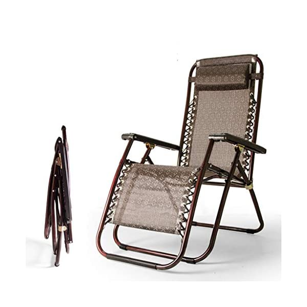 MRZZ Folding Chair,Office Lunch Nap Beach Chair Multi-function Recliner Escort Chair Reclining Garden Sun Lounger Chairs (Color : Brown)  It is incredibly comfortable, durable and folds down flat for easy storage Detachable and adjustable,Easy to install. Applicable Office lunch break, balcony small raft, outing camping, beach trip, hospital companionship or just relaxing in the garden. 2