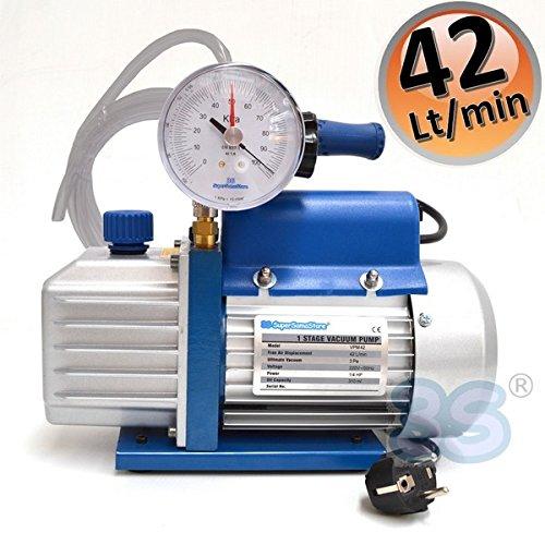 Pompa del vuoto 42 lt/min con vacuometro e rubinetto - 2 mt di tubo vinilico in dotazione