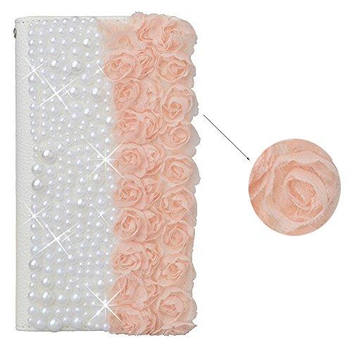 spritech (TM) Bling Pearl Perle Design PU Leder Wallet Case Soft Lace Decor Geldbörse Karten Tasche Standfunktion Schutzhülle Cover, Kunstleder, Color-15, Samsung Galaxy Note 4