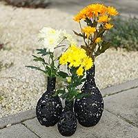 Trio Vaso di fiori nero metallizzato con vetro interno tubo per acqua - Vase Trio