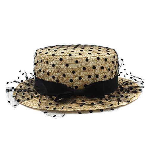 AM-women's hat Mode Damen Hipster Sonnenhut Bast Hut Sommer Mit Bogen Flache Runde Stroh Strandhut Panama Hut Komfort (Farbe : Schwarz, Größe : 56-58CM)