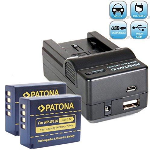 Bundlestar Ladegerät 4 in 1 für Akku Fujifilm NP-W126 NP-W126s + 2x PATONA Akku zu Fujifilm FinePix HS50EXR HS30EXR HS33EX X100F X-T1 X-T2 X-T10 X-T20 X-Pro1 X-Pro2 X-E1 X-E2 X-ES2 X-A1 X-A2 X-A3 X-A10 X-M1 -- NEUHEIT mit Micro USB Anschluss !