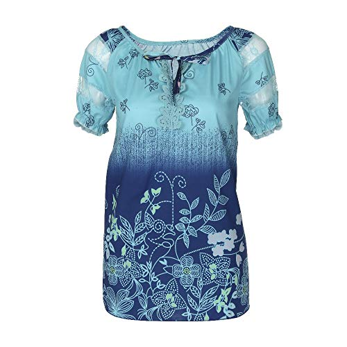 Haughtily Frauen Lace Floral Hollow Tops V-Ausschnitt Gedruckt Kurzarm Multi Color Plus Size Beiläufige Lose T-Shirt Bluse - Gedruckt Dolman Sleeve