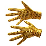 Kleidung Accessoires Loveso Unisex Gloves Pailletten Performance Handschuhe Für Hallowen Christmas Party Tanz Show (One Size, Golden)