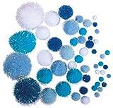Rayher Pompones metálicos, azul/blanco, varios colores