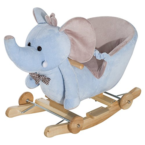 HOMCOM Baby Ride on Rocking Wooden Toy for Kids 2 in 1 Plush Elephant with Wheels and 32 Songs (Blue)