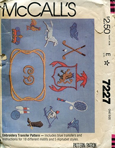 EMBROIDERY TRANSFER PATTERN WITH INSTRUCTIONS FOR 18 MOTIFS & 5 ALPHABET STYLES - MCCALLS SEWING PATTERN 7227 by McCall's -