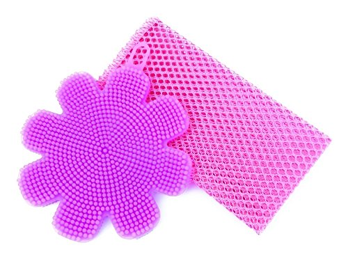 Silicone Dish Scrubber Antibacterial Kitchen Sponge with Firm and Soft Bristles (Purple) + Non-Scratch Scourer Net (Pink) - 2 Piece Kit For Cleaning Kitchen, Bathroom, Non-Stick Cookware, Pots, Pans and Appliances - Oobie Scrub