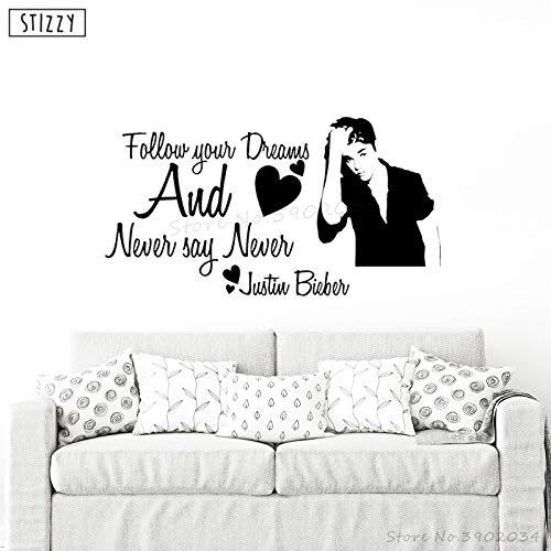 yiyiyaya Wandtattoo Justin Bieber Vinyl Wandaufkleber Cool Star Mädchen Schlafzimmer Poster Tapete Zitate Sag Niemals Niemals Dekor 57 * 31 cm