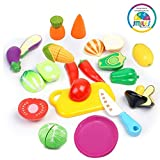 #4: Smiles Creation Realistic Sliceable Fruits Cutting Play Toy Set with Velcro for Kids
