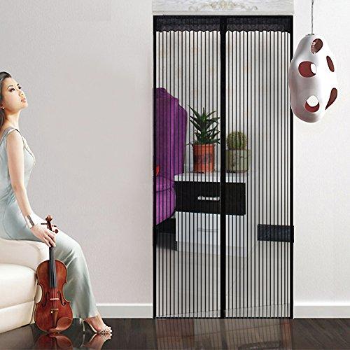 Heavy-duty Magnet vorhang, Moskitonetz-vorhang Full-frame-magie-aufkleber Verstärkt Weiche fliegengitter Hält mücken-Schwarz 130x220cm(51x87inch)