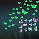 Gemini_mall® 12pcs Glow in the Dark Butterfly Decals 3D Luminous Wall Sticker Decal Home Decor for Kids Children Bedroom Living Room Nursery Room