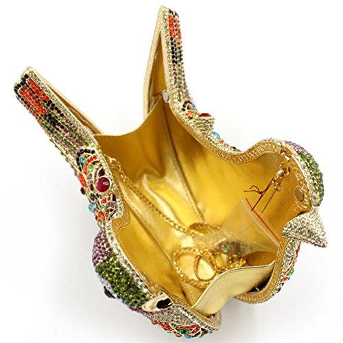 Santimon Donna Pochette Borsa Uccello Custodia Rigida Lusso Borsellini Diamante Cristallo Borse Da Seta Con Tracolla Amovibile e Pacco Regalo 15 Colori rosso