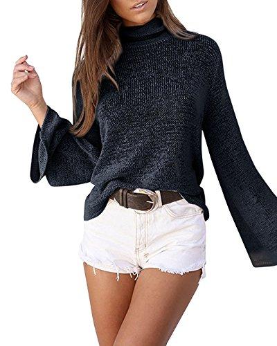 Minetom donne ragazze allentato moda dolcevita senza schienale maniche lunghe felpa maglia maglietta pullovers sweatshirt tops blouse maglietta nero it 44