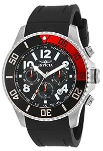 Invicta Men's Pro Diver Quartz Watch with Black Dial Chronograph Display and Black Plastic Strap 15145