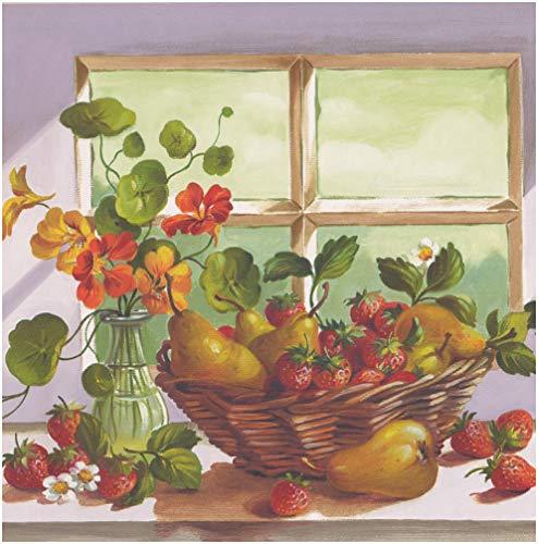 Blumen Orange Apple Pfirsich Wein Trauben Körbe Tapete Grenze für Küche Badezimmer Wohnzimmer, Rolle 15'x 26cm