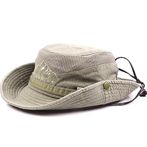 Obling Sonnenhut Herren UV Schutz Atmungsaktiv Quick Dry Fischerhut Hiking Strand Faltbar Safari Buschhüte Cap (Khaki)