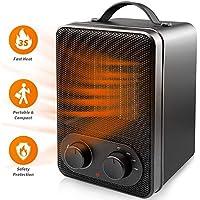 SAKOBS Keramik Heizlüfter energiesparend 1800/1000 W für Wohnzimmer Badezimmer Büro Camping Schnelle elektrische Heizung mit stufenlosem Thermostat,Umkipp-, Überhitzungs- und Frostschutz