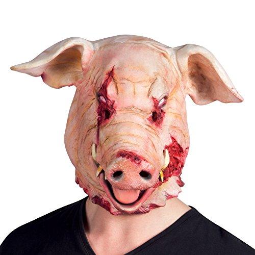tsmaske, Motiv Schwein, Horror Bloody Pig, Latex, Einheitsgröße, Rosa (Mens Fancy Dress Rosa)