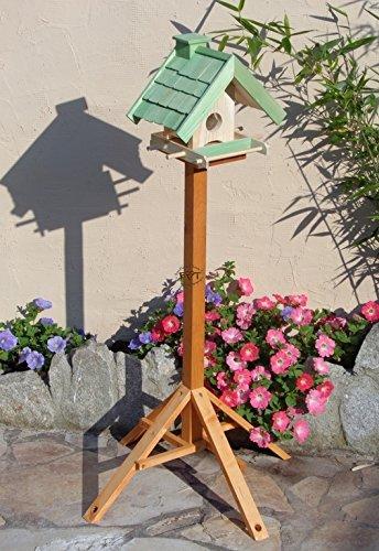 Vogelfutterhaus,BEL-X-VOWA3-moos002 Großes Vogelhäuschen + 5 SITZSTANGEN, KOMPLETT mit Futtersilo + SICHTGLAS für Vorrat PREMIUM Vogelhaus – ideal zur WANDBESTIGUNG – vogelhäuschen, Futterhäuschen WETTERFEST, QUALITÄTS-SCHREINERARBEIT-aus 100% Vollholz, Holz Futterhaus für Vögel, MIT FUTTERSCHACHT Futtervorrat, Vogelfutter-Station Farbe grün moosgrün lindgrün natur/grün, MIT TIEFEM WETTERSCHUTZ-DACH für trockenes Futter - 3
