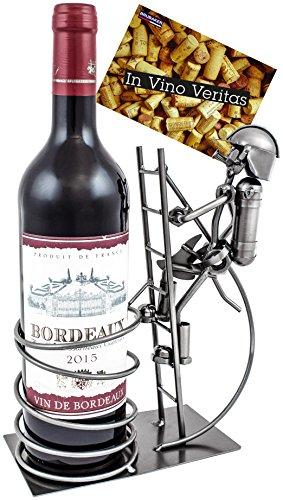 BRUBAKER Weinflaschenhalter Flaschenständer Feuerwehrmann auf Leiter Deko-Objekt Metall mit Grußkarte für Weingeschenk