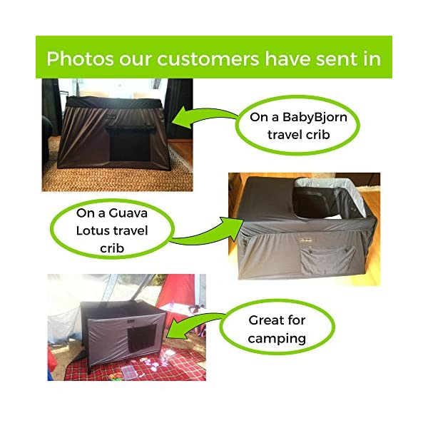 SnoozeShade Portable Blackout Blind and Canopy for Travel Cots SnoozeShade Sharing a room with your baby? There's no need to creep around in the dark (we've all done it). Let SnoozeShade make it easy. Keep the lights on without worrying about waking your little one. Invented by a British mum, it creates a comfortable darkened environment to help babies switch off and sleep in strange surroundings. Great for hotels, family visits, camping or any time you need baby to nap in the travel cot. So simple to use and easy to travel with. Just pop it over the travel cot, attach the bottom straps and you're done! Lightweight and no complicated attachments. 9