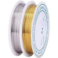 Wuudi- Joyería de alambre de cobre para manualidades, alambre de alambre de alambre para bisutería, 2 piezas