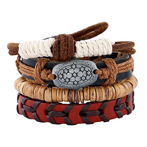 Set de 4 pulseras estilo Hippie Chic Vintage hechas a mano con cordones de algodón y otros materiales