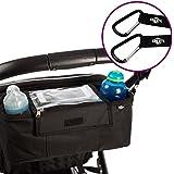 """Bolsa de almacenamiento organizador BTR para cochecito de niño, silla de paseo, carro tipo """"jogging"""" con soporte para teléfono móvil y cubierta para la lluvia - negra - resistente al agua. Cochecito Clips x 2"""