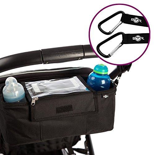 Preisvergleich Produktbild BTR Kinderwagen- / Buggy-Organizer, Aufbewahrungstasche mit Mobiltelefon-Halter, Regenschutz und 2 Kinderwagenbefestigungen (Clips) - schwarz - wasserabweisend. Baby Kinderwagentasche