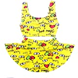 Kids Girls Swim 2 Piece Suit Yellow I Love You Cartoon Print (Swimming Costume Swimwear & Beach Wear)