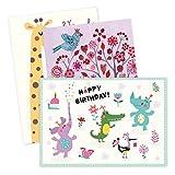 3er Set Glückwunschkarten zum Geburtstag, Tiere, neutral, Junge, Mädchen, blanko, Karte zur Geburtstag, DIN A6