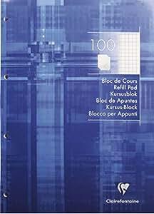 Clairefontaine 5816C kursusblock a4–carreaux - 4 trous lot de 1 blocs de 100 feuilles-bleu électrique
