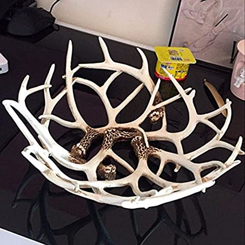 Fruit plate antlers fruit dish creative living room European style coffee table ornaments personality household decoration compote Nordic fruit plate,Beige