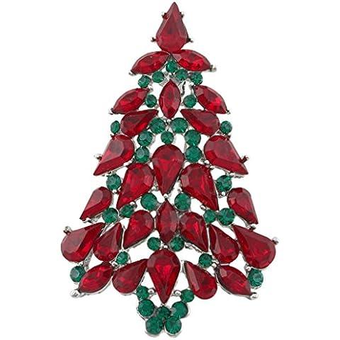 Ever Faith Albero di Natale lacrima rosso verde austriaco di cristallo spilla in argento-Tone A02339-14