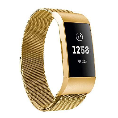 8f22853c4c07 Fitbit Charge 3 Correa, HEYSTOP Milanese Loop pulsera de metal de acero  inoxidable correa con imán cerradura única, sin hebilla necesaria para ...
