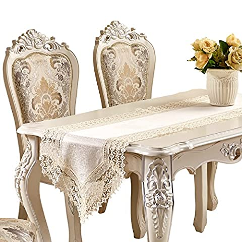 Adasmile faite à la main ajouré brodée en dentelle florale Commode écharpes chemin de table, Brilliant 15, 78.7inchX17.7inch/220cmX40cm