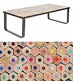 ts-ideen Tavolino da salotto Modern Style MATITE 105x55 cm con lastra in vetro di sicurezza ESG 6 mm