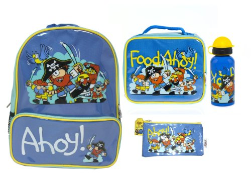 Bugzz Kids Stuff Children's School Bag Set Backpack, Pencil Case, Lunch Bag and Drinks Bottle (Pirate)
