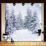 KING DO WAY Fotostudio Hintergrundstoff Schnee, Weihnachtsfotohintergrund aus Stoff und Vinyl, Baum, weiße Schneekulisse, Nutzung als Kulisse, Requisite, Studiorequisite, 3 m x 3 m
