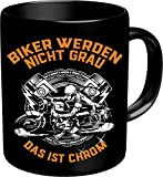 Original RAHMENLOS® Kaffeebecher für ältere Motorradfahrer: Biker werden nicht grau, das ist Chrom! Im Geschenkkarton 2639