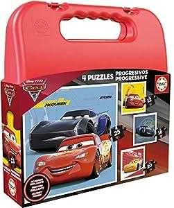 Cars Maleta con 4 puzles progresivos de 12, 16, 20 y 25 Piezas (Educa Borrás 17175)