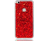 MUTOUREN Huawei P8 Lite (2017) Funda Silicona Carcasa ( Pantalla Protectora) TPU Protectora Cubiertas Calidad Cubierta De Silicona Patrón Caso Parachoques para Huawei P8 Lite (2017) - rojo