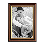 Photolini Bilderrahmen 20x30 cm Antik Dunkelbraun mit Goldkante Massivholz mit Glasscheibe inkl. Zubehör