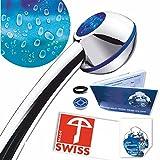 Handbrause druckerhöhend CHROME-RAIN: Powerstrahl, verkalkungsfrei, Schweizer Produkt, 1 Wassersparer für 2 Durchflussmengen und 4 Strahl-Varianten, Energieeffizienz B-C